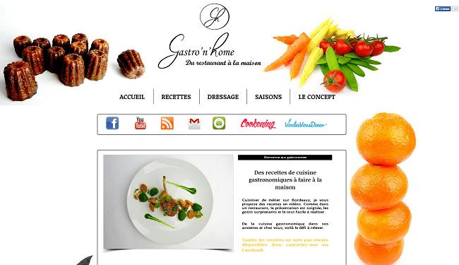 Capture d'écran du site Gastro'n'Home