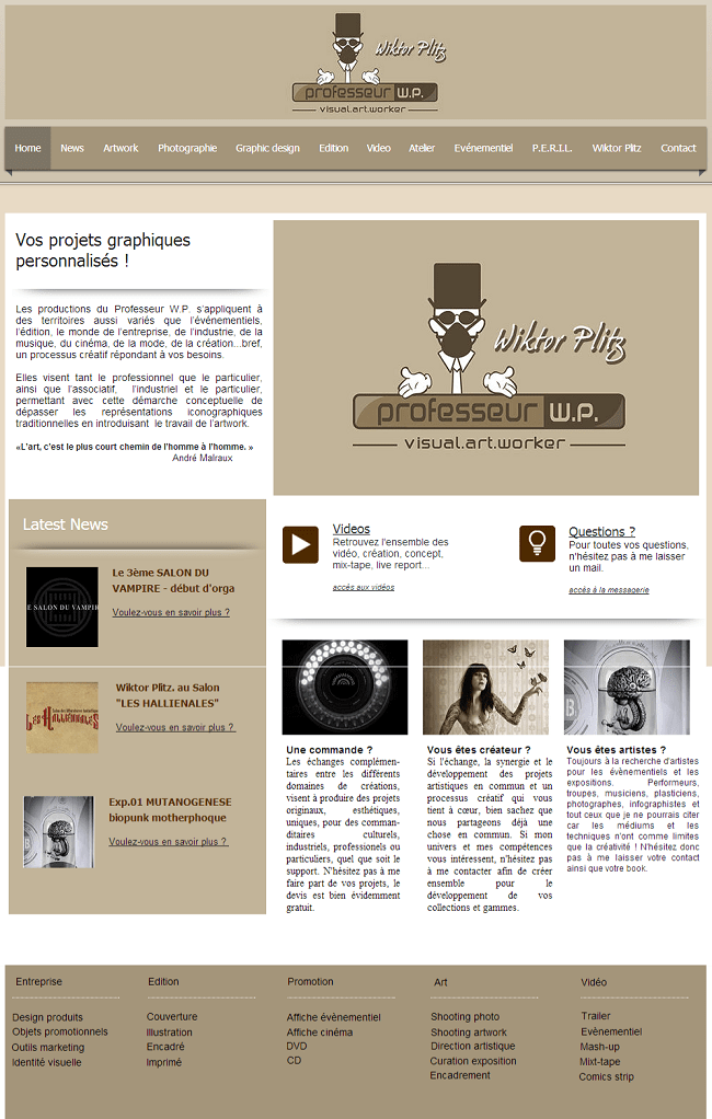 Site de Professeur W.P - Visual art worker