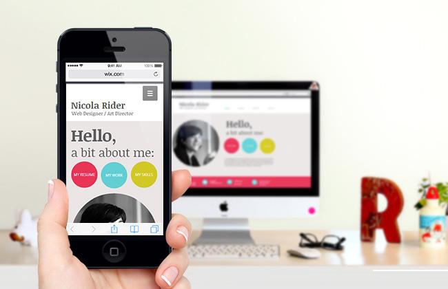 Exemple de version mobile créée avec Wix