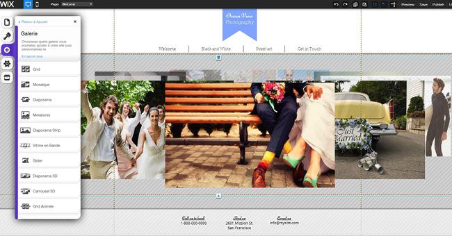 Capture d'écran de l'éditeur Wix : ajouter une galerie en 3D