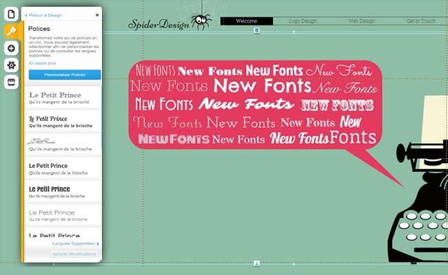 Capture d'écran de l'éditeur Wix - utiliser les polices de caractères