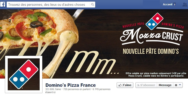 Couverture Facebook de Domino's Pizza France