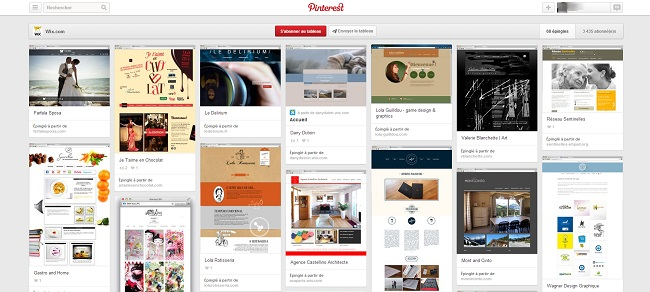 Tableau Pinterest de Wix consacré aux sites francophones