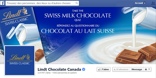 Couverture Facebook de Lindt France