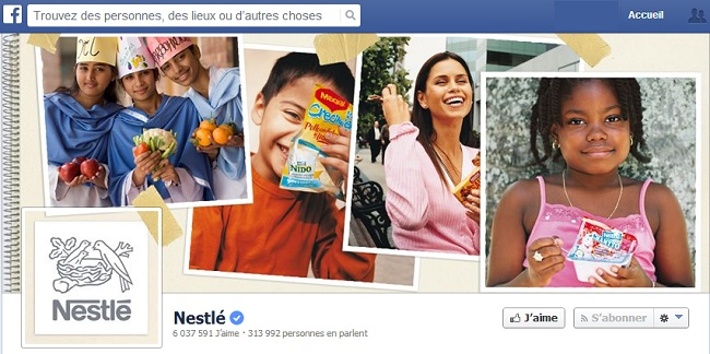 Couverture Facebook de Nestlé
