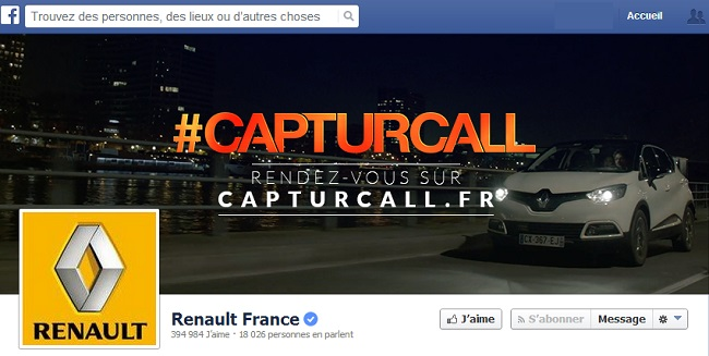 Couverture Facebook de Renault France