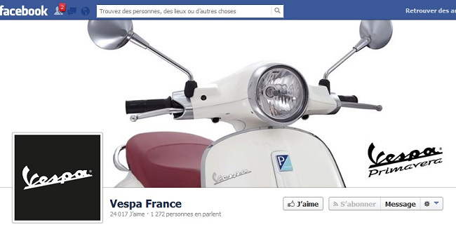 Couverture Facebook de Vespa France