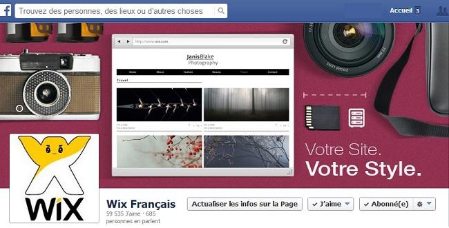 Couverture Facebook de Wix français