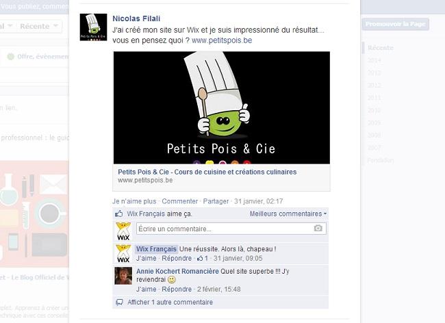 Page Facebook en français de Wix