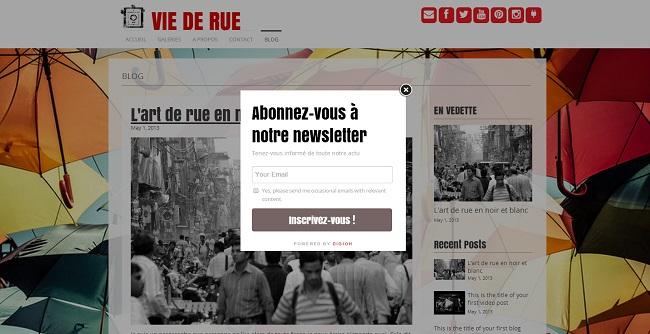 Application de pop-up pour newsletter