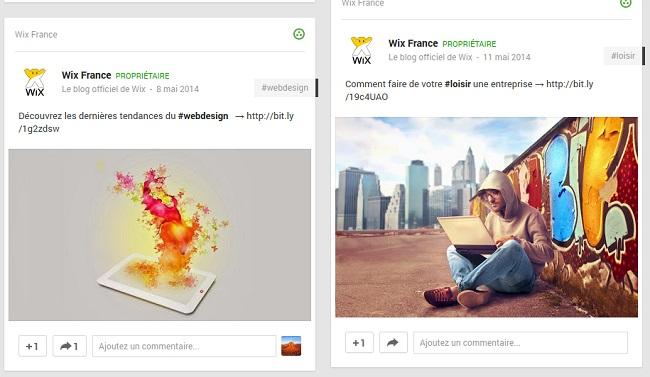 Publication de Wix France - Google+