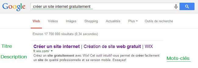Recherche Google pour les termes : créer un site gratuitement