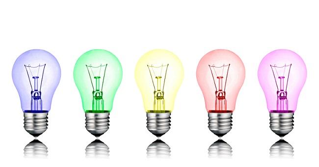 5 ampoules de couleur