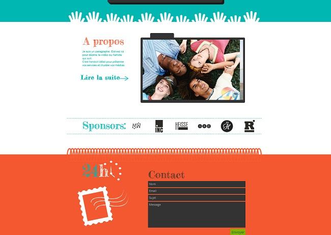 Exemple de LP présentant des partenaires et des infos de contact