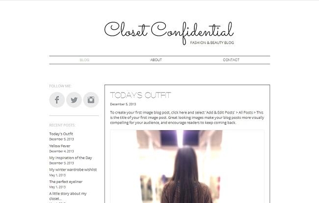 Fashion Blog Template de Site WIX