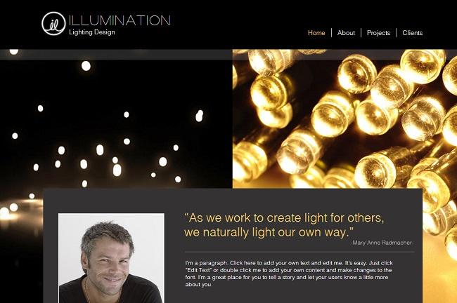 Lighting Design Template de Site WIX