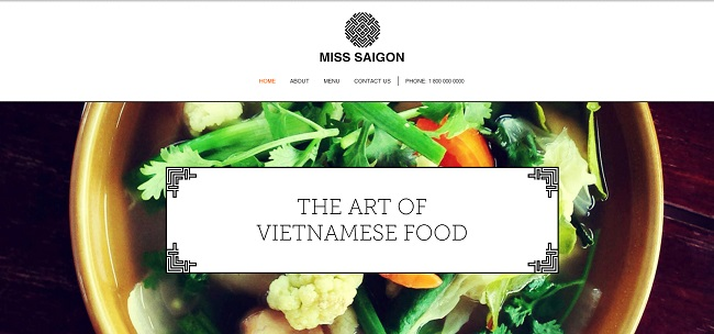 Vietnamese Restaurant Template de Site   WIX