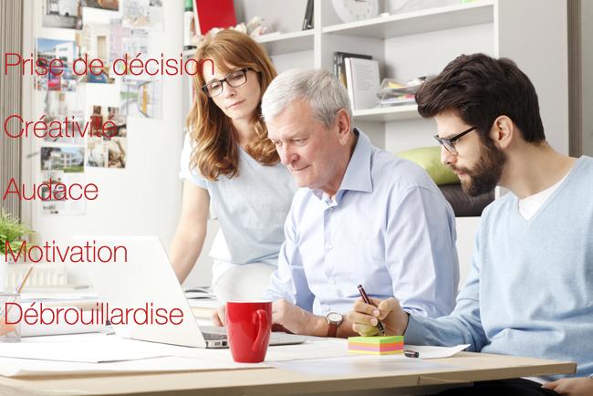 Prise de décision, créativité, audace, motivation, débrouillardise