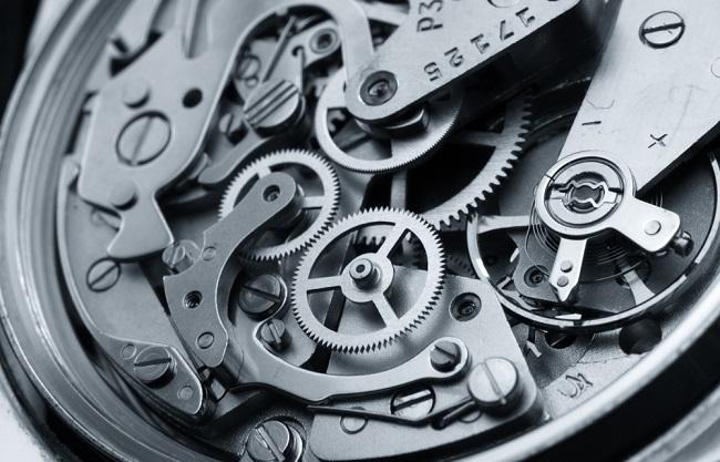 Détails du méchanisme d'une montre