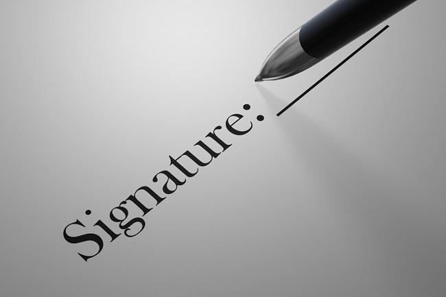 Signature en pied de page