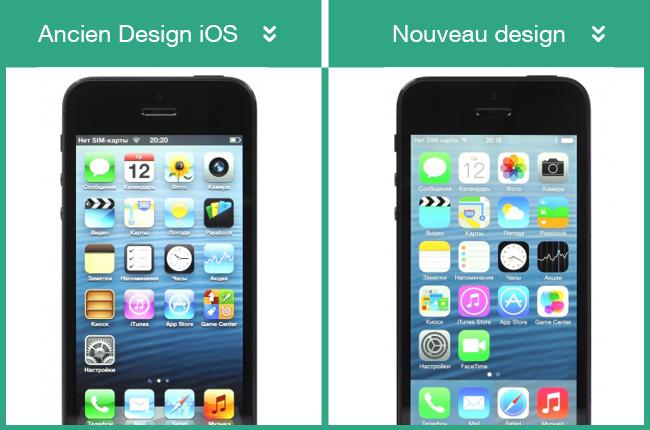 Ancien design iOs et nouveau Design iOs