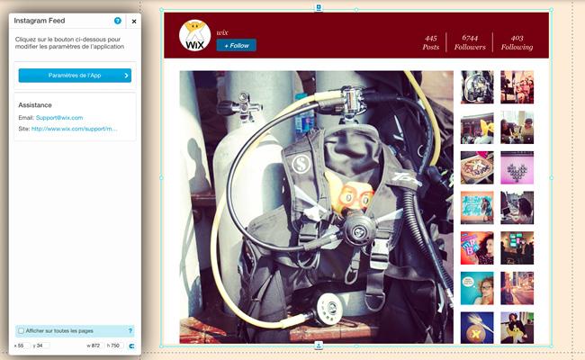 éditeur Wix: application Instagram