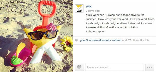 hashtags de wix sur Instagram