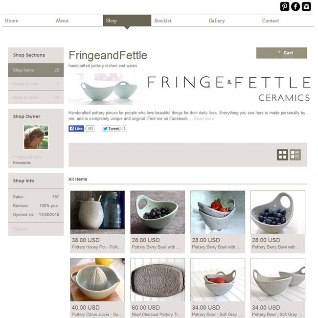 Boutique en ligne créée avec Wix - Fringe&fettle