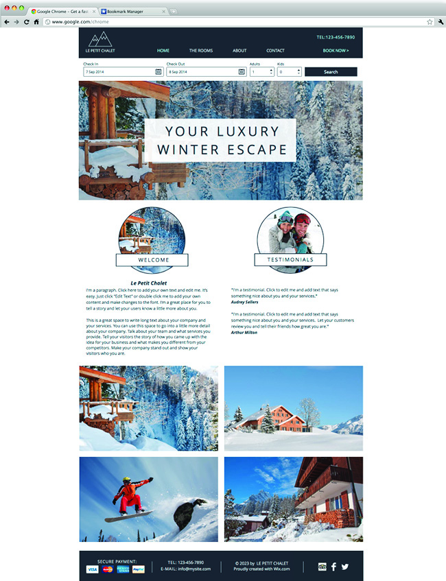 Template Wix : chalet de ski
