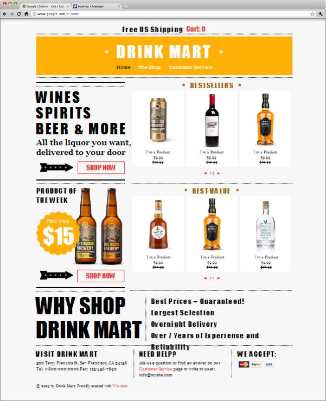 Template WIx : boissons et livraisons