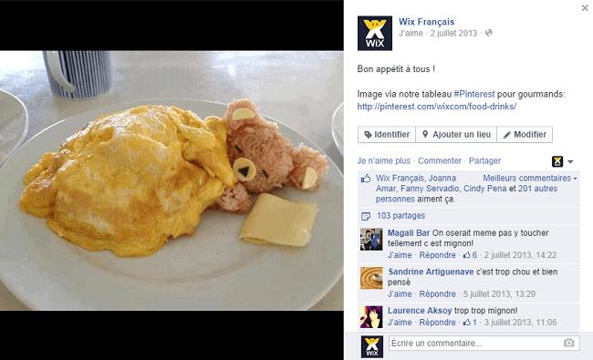 Publication de WIx Français sur Facebook