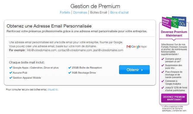 Wix.com Gestion de Boîtes Email
