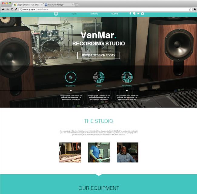 Template Wix Studio d'enregistrement