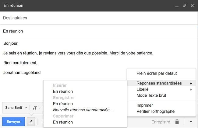 réponse standardisée Gmail