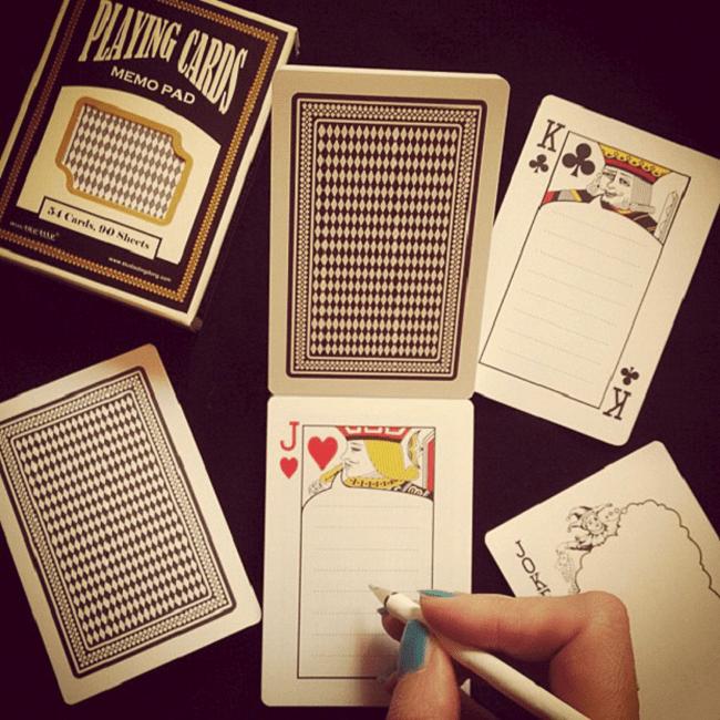 Bloc-notes : jeu de cartes
