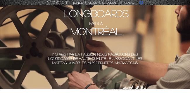 Zenit Longboard   Montréal - Site Wix avec une vidéo en fond d'écran
