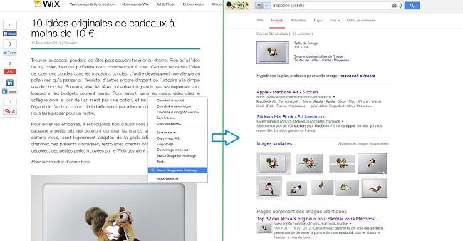 Recherche d'image inversée Google