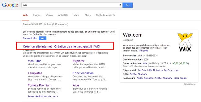 Résultats de recherche pour Wix sur Google