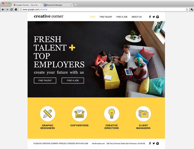 Agence de recrutement de créa' : template wix