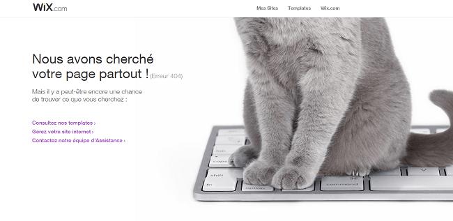 Page erreur 404 Wix.com