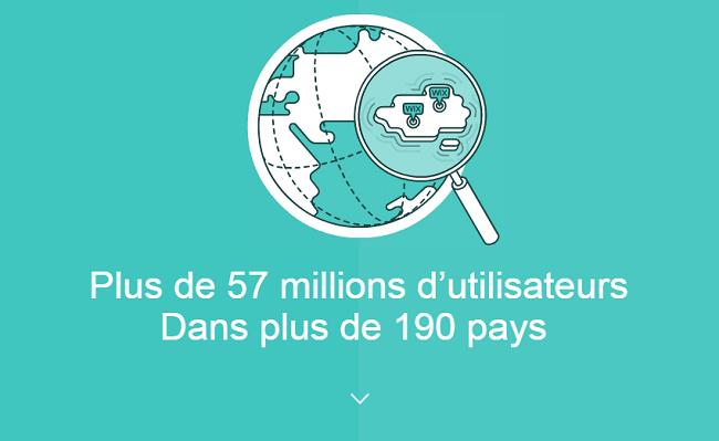 Nous avons dépassé les 57 millions d'utilisateurs, dans plus de 190 pays