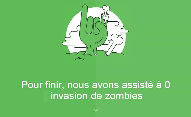 Pour finir, nous avons assisté à 0 invasion de zombies