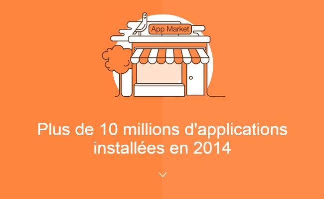 Plus de 10 millions d'applications ont été installées en 2014.