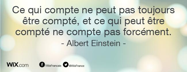 « Ce qui compte ne peut pas toujours être compté, et ce qui peut être compté ne compte pas forcément ». Albert Einstein