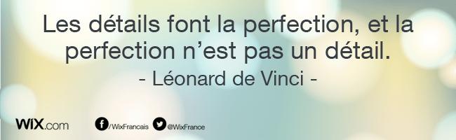 « Les détails font la perfection, et la perfection n'est pas un détail. » Léonard de Vinci
