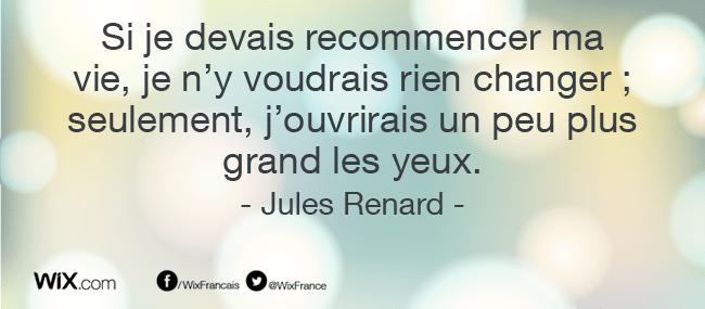 « Si je devais recommencer ma vie, je n'y voudrais rien changer ; seulement, j'ouvrirais un peu plus grand les yeux. » Jules Renard