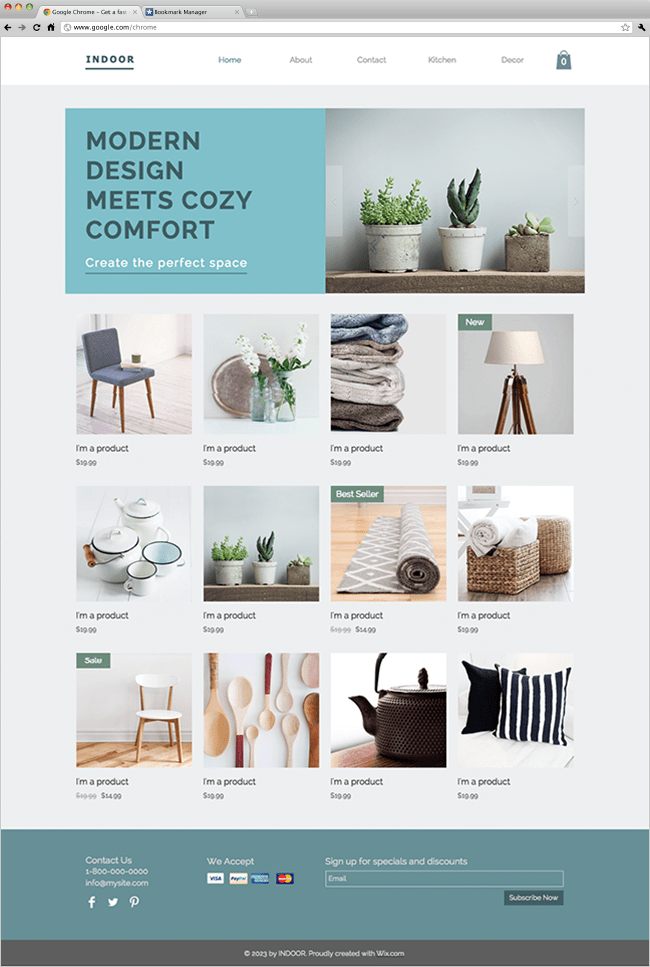 Home Decor Template Wix