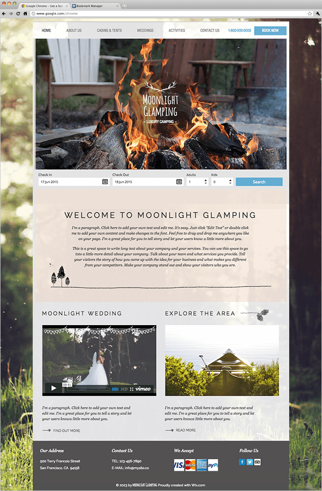 Template Wix Camping