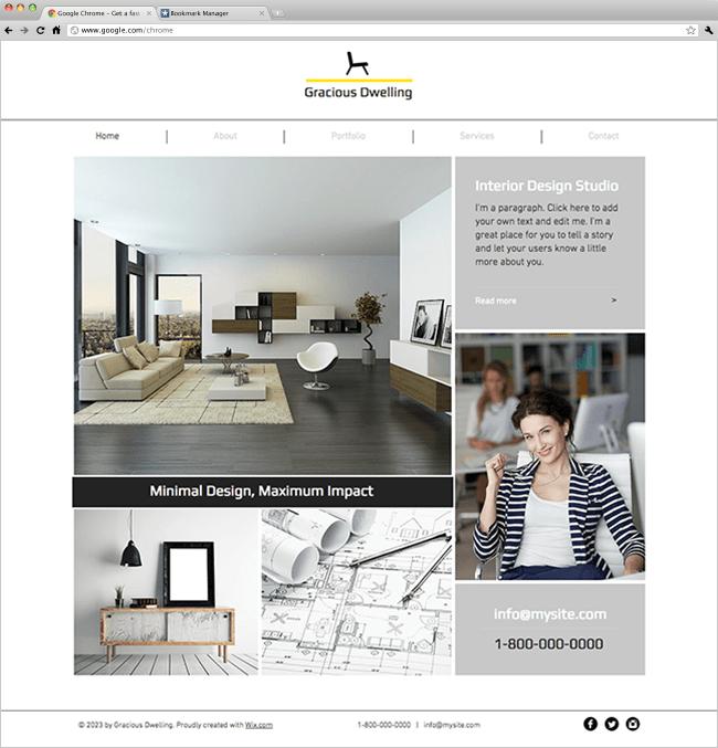 Studio de design d'intérieur Template Wix