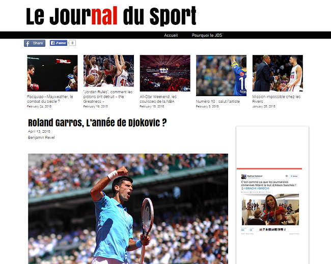 Le Journal du Sport   Roland Garros  L'année de Djokovic